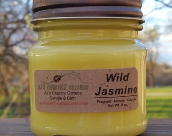 WILD JASMINE CANDLE - Jasmine Candles, Floral Candles, Flower Candles, Spring Candles, Summer Candles, Scented Candles, Strong Candles