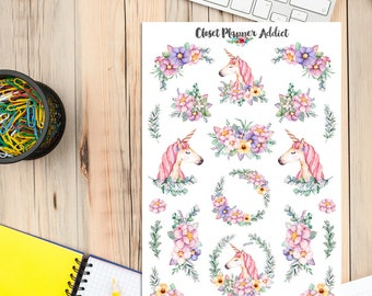 Magic Unicorns Planner Stickers | Watercolour Stickers | Watercolour Flowers | Floral Stickers | Unicorns Stickers (S-276)