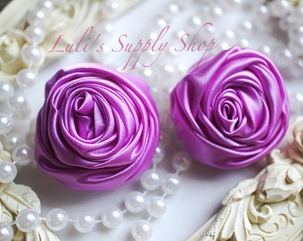 "2"" Large Satin Ribbon Roses - Set of Two - Rolled Rosettes - Lavender Satin Rolled Rosettes - Large Satin Roses - Lavender Satin Flowers"