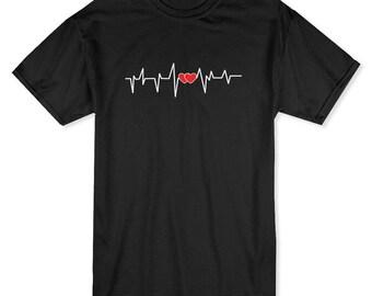 Heart Beat, Electrocardiogram Graphic Men's T-shirt