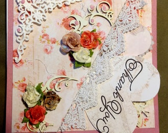 shabby chic, thank-you card