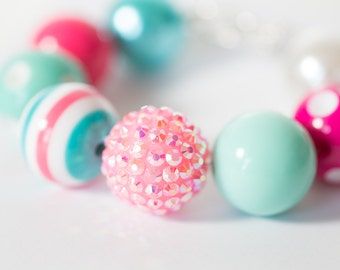 Caitlyn Candy - Bubblegum Bracelet - Hot Pink Bracelet - Aqua 20mm Gumball Beads