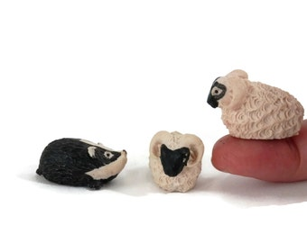 Set 3 Scottish Rams Lambs and Badger Miniature Figurines Hand Made and Painted in Scotland