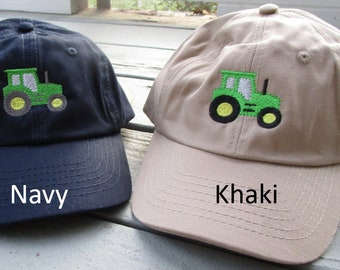 Childs Embroidered Tractor Hat with Optional Personalization