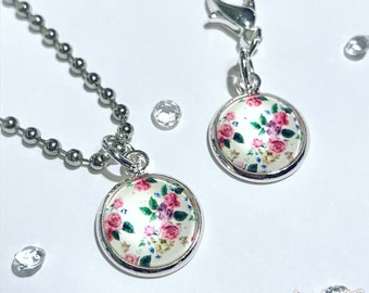 Spring floral charm for planner, travelers notebook, bag, keyring or zipper pull clip charm in silver plated setting