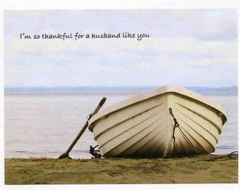 Husband Father's Day Card - From Wife - Inspirational - Boat - Sailing -  Handmade Greeting Cards for Spouse - Significant Other - Christian