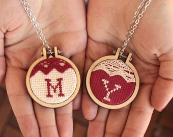 Initial Necklace, Monogram Necklace, Hoop Art, Embroidery Jewelry, Hoop Necklace, Cross Stitch, Embroidery Art, Gift for Her, Christmas