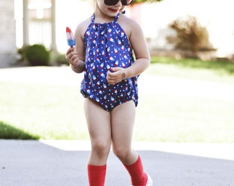 Popsicle Romper. Patriotic Sunsuit for Babies, Toddlers, Girls. 4th of July Romper For Summer. Girls Clothing. Popsicle Print Clothing