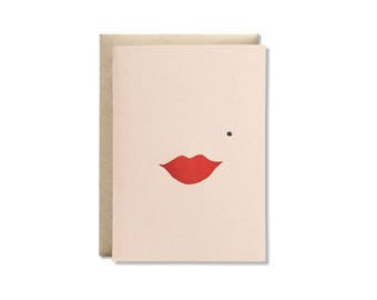 Lips Letterpress Greeting Card