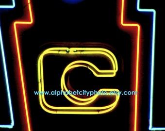 LETTER C No.6 4x5.3 Horizontal Photo, 1960s Neon Dancehall Marquis, Alphabet Art Photo Letters