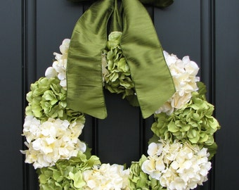 "Hydrangea Wreaths, Summer Hydrangea Blooms, 22"" Hydrangea Wreath, Front Door Wreath, Summer Front Door Wreath, Burlap for Wreaths"