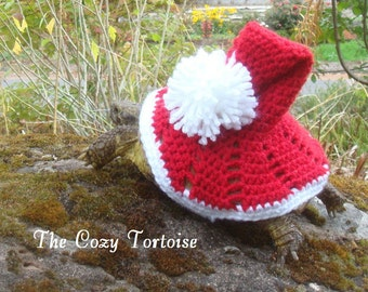 Santa Hat- Tortoise Cozy - Made To Order - Turtle - Yard Finder - Cozie - Christmas Crochet - Hat - Sweater