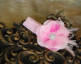Pink Flower & Feather Headband. Elegant Newborn Baby, Big Day Spring Wedding Accessory, Statement Kid Toddler Hair Clip, New Born Dedication