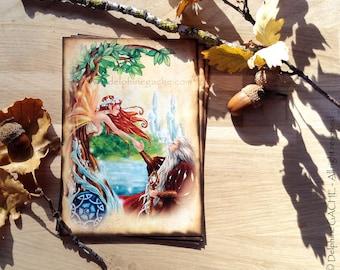 Post medieval theme card / / fairy / / Arthurian - Merlin & Viviane - Illustration Delphine striker
