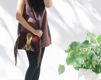 Fringe bag/Crossbody bag/Festival bag/Handwoven/Wool/Hand dyed/Brown leather fringe/Tribal design fringe bag/Women/Gift for her/Oaxaca purse