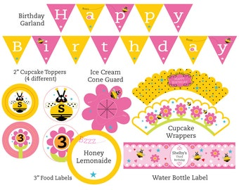 Bee birthday party etsy bee birthday party suite filmwisefo Images