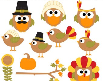 thanksgiving clip art owls birds clipart - Thanksgiving Hoots and Tweets Digital Clipart - BUY 2 GET 2 FREE