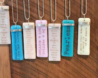 Custom quotes, personalized, friendship, encouragement, inspirational gifts, hope, faith, Story Pendants, fused glass, Designs by Leslie