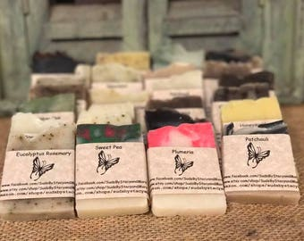 25 pack sampler of all natural homemade soap (custom labels on request)
