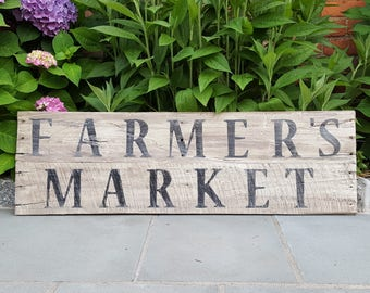 FARMER'S MARKET pallet wood sign vintage replica distressed