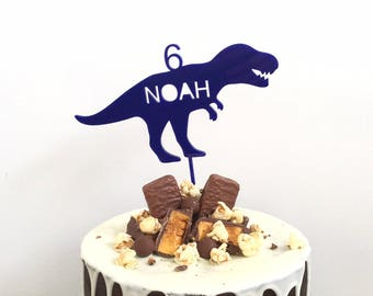 Personalised dinosaur cake topper - T Rex trex birthday custom cake decoration - Navy t-rex cake toppers dino wood timber