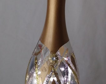 Glitz and Glamour Hand Painted Bottle