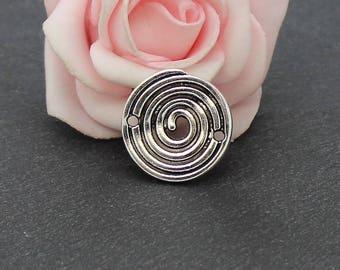 8 connectors round spiral shape antique silver 20 mm COA06