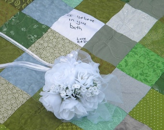 Wedding guest book quilt Patchwork Quilt, TWIN SIZE, fits 130-150 signatures, match your colors, Quiltsy Handmade