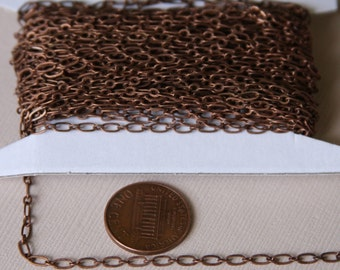 Antiqued Copper chain Long and Short chain 4X2mm- Soldered Links 32ft