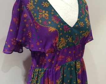 Sherman Maxi Dress late 60s early 70s Gorgeous tree print festival maxi dress