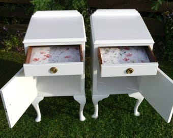 Vintage Queen Anne style bedside cabinets