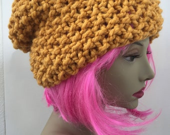Chunky Knit Hat Warm Fall Winter Spring in Mustard
