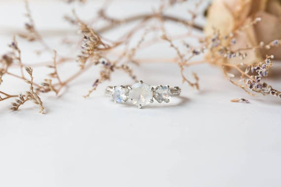 Moonstone twig engagement ring, twig engagement ring, sterling silver promise ring