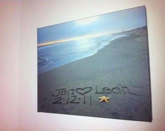 Eco-conscious Stretched CANVAS Gallery Wrap Sand writing, Personalized Names Message Written in REAL Sand
