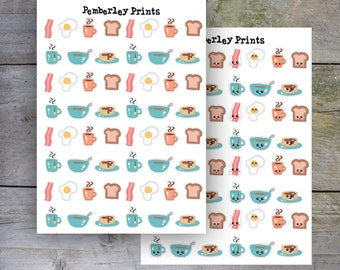 Breakfast Stickers // Hand Drawn Breakfast Food Stickers Perfect for Planners, Kawaii Option Available // HD13/HD14