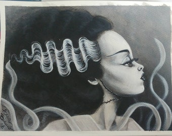 ORIGINAL ACRYLIC Painting ART Black and White Frankestein's Bride Surreal Big Eyes Acrylics on Paper