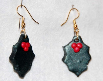Christmas Holly polymer clay earrings