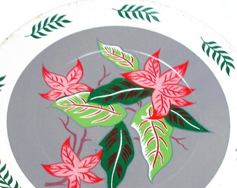 60s Tin Toy Tea plate, Tropical Hawaiian flowers in pink, gray, white. By J Chein Co. Larger size. Stargazer lily.