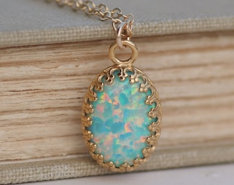 RARE Mint Seafoam Genuine Opal Necklace,14K Gold Filled Opal Gemstone Necklace,Large Opal Pendant,Rainbow,October Birthstone,Lab Created