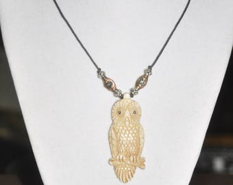 Necklace Men's Carved Bone Owl Silver Copper Pewter Brown Leather Cord Thin #010717 One Of A Kind