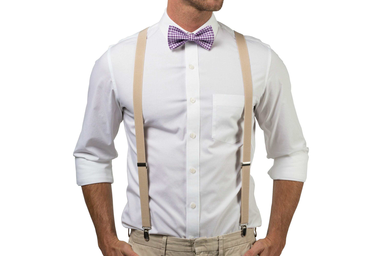 Beige Suspenders Purple Bow Tie For Baby Toddler Boy Men