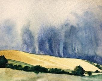landscape watercolor, Storm clouds, Wheat Field, Fields, landscape art, stormy weather, rainy day, landscape painting, hills, storm art