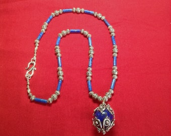Necklace Lapis Lazuli sphere pendant from Afghanistan capped in Bali silver on a lapis and Bali silver strand and clasp