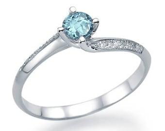 Round Cut Aquamarine Engagement Ring 14k White Gold Natural Aquamarine Ring March Birthstone Art Deco Anniversary Ring