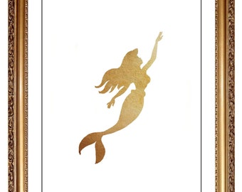 Ariel Print, DIY Printable Neutral Gold Beige Watercolor Ariel Little Mermaid Print Picture Art, Girls Nursery Art,DIY Children's Disney Art