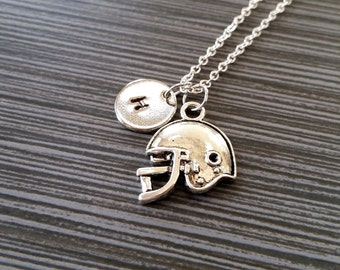 Silver Football Helmet Necklace - Football Necklace - Personalized Necklace - Custom Football Gift - Sports Necklace - Ball Sport Jewelry