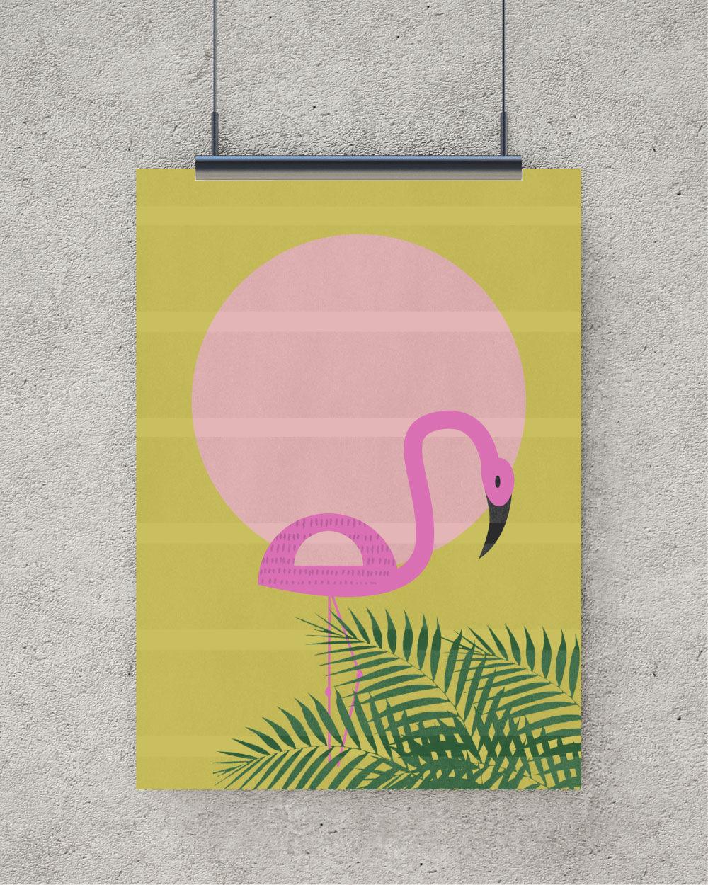 Flamingo art print Wall Art decor Tropical Bird Tropical