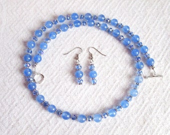 Blue Quartz and Crystal Necklace with Pierced or Clip On Earrings