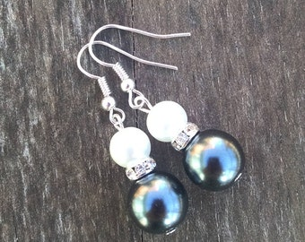 Hematite Double Pearl Earrings with Crystal Accents,  Faux Pearl Jewelry, Gray and White Wedding Jewelry - Available in Clip-on Earrings