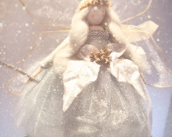 Large Winged Christmas Tree Top Fairy - duck egg, gold and silver